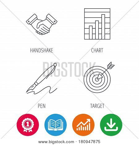 Handshake, graph charts and target icons. Pen linear sign. Award medal, growth chart and opened book web icons. Download arrow. Vector