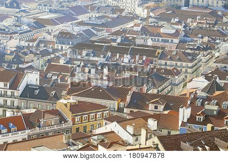 View of Lisbon from the hill in evening light