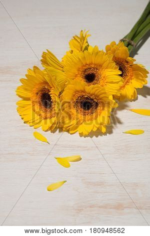 Yellow daisy bouquet on wooden table. Yellow daisy bouquet.