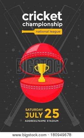 Cricket championship sport poster design. Vector illustration