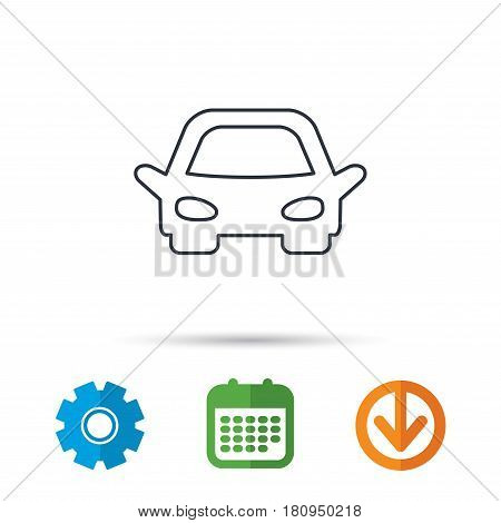 Car icon. Auto transport sign. Calendar, cogwheel and download arrow signs. Colored flat web icons. Vector