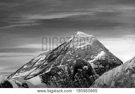 Black and white view of top of Mount Everest from Gokyo valley - way to Everest base camp - Nepal