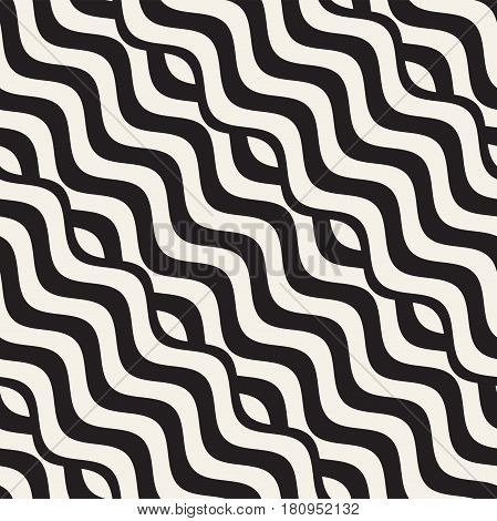 Abstract geometric pattern with wavy lines. Interlacing rounded stripes stylish design. Seamless vector background.