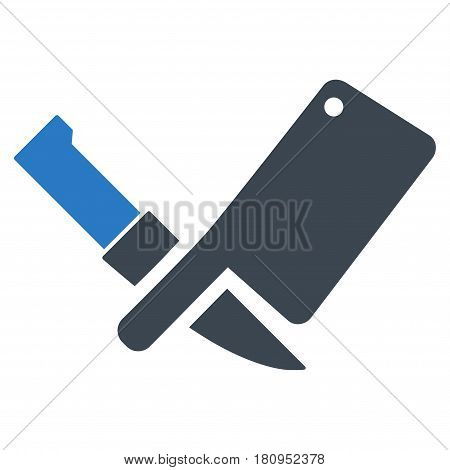 Butchery Knives flat vector illustration. An isolated illustration on a white background.