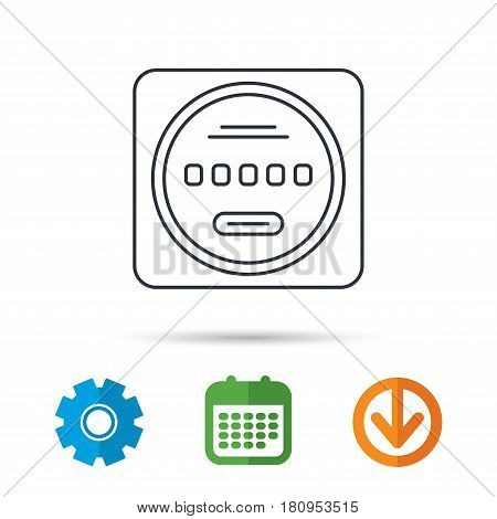 Electricity power counter icon. Measurement sign. Calendar, cogwheel and download arrow signs. Colored flat web icons. Vector