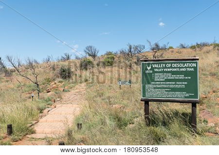 CAMDEBOO NATIONAL PARK SOUTH AFRICA - MARCH 22 2017: The trail to the viewpoint of the Valley of Desolation near Graaff Reinet in the Eastern Cape Province of South Africa