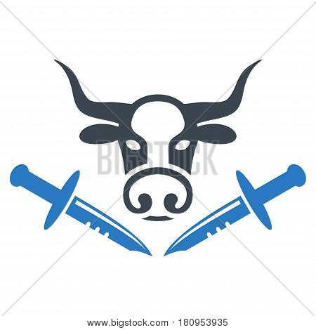 Cow Butchery Knives flat vector icon. An isolated illustration on a white background.