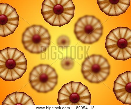 Buttery cookies with red jam seamless background isolated on white. Defocused cookies elements.