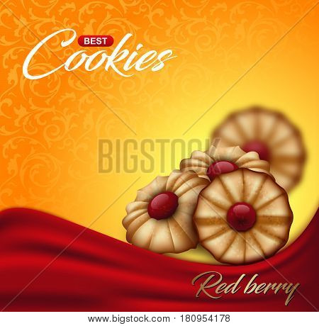 Buttery cookies with red berry jam on floral pattern backdrop. Label packaging or advertising poster design. Bright orange and yellow biscuit background with wave of red cloth