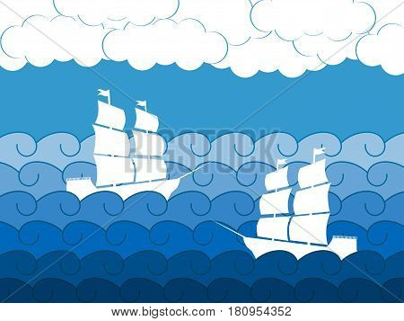 Ships on the waves sailing medieval ship. Seascape. Vector illustration