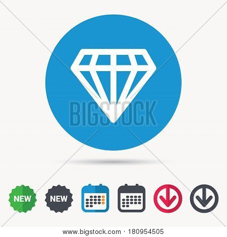 Diamond icon. Jewelry gem symbol. Brilliant jewel sign. Calendar, download arrow and new tag signs. Colored flat web icons. Vector