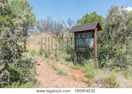 CAMDEBOO NATIONAL PARK SOUTH AFRICA - MARCH 22 2017: Information board on the trail to the viewpoint of the Valley of Desolation near Graaff Reinet in the Eastern Cape Province