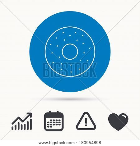 Donut icon. Sweet doughnuts sign. Breakfast dessert symbol. Calendar, attention sign and growth chart. Button with web icon. Vector