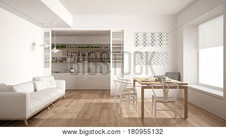 Minimalist kitchen and living room with sofa table and chairs white modern interior design, 3d illustration