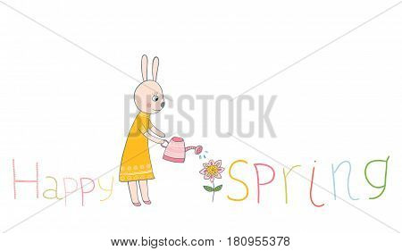 Cute bunny with watering can and flower with Hello spring letters in yellow and pink colors