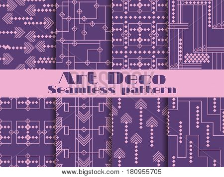 Art Deco Seamless Patterns. Purple Color. Set Retro Backgrounds. Style 1920's, 1930's. Vector