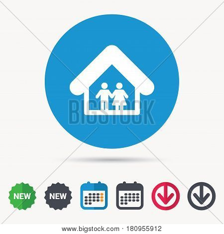 Family icon. Father and mother in home symbol. Calendar, download arrow and new tag signs. Colored flat web icons. Vector