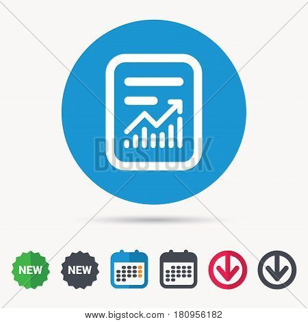 Report file icon. Document page with statistics symbol. Calendar, download arrow and new tag signs. Colored flat web icons. Vector