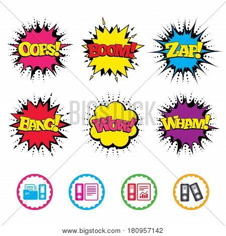 Comic Wow, Oops, Boom and Wham sound effects. Accounting report icons. Document storage in folders sign symbols. Zap speech bubbles in pop art. Vector