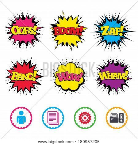 Comic Wow, Oops, Boom and Wham sound effects. Accounting workflow icons. Human silhouette, cogwheel gear and documents folders signs symbols. Zap speech bubbles in pop art. Vector