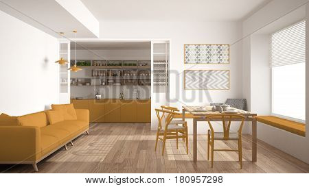 Minimalist kitchen and living room with sofa table and chairs white and yellow modern interior design, 3d illustration