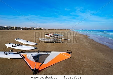 Valencia La Malvarrosa beach arenas in Spain