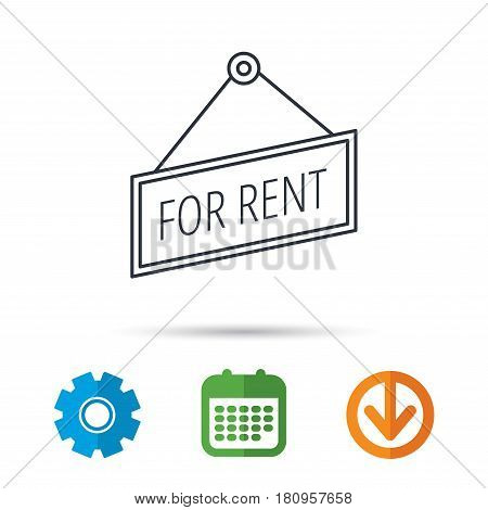 For rent icon. Advertising banner tag sign. Calendar, cogwheel and download arrow signs. Colored flat web icons. Vector