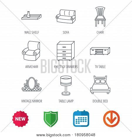 Double bed, table lamp and armchair icons. Chair, lamp and vintage mirror linear signs. Wall shelf, sofa and chest of drawers furniture icons. New tag, shield and calendar web icons. Download arrow