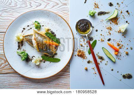 Seabass sea bass with stir fried vegetables recipe