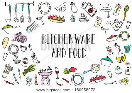 set of kitchen utensils and food. Design elements of kitchen. Kitchenware.