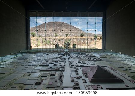 Teotihuacan, Mexico, circa february 2017: Interior of the Teotihuacan Pyramids Museum