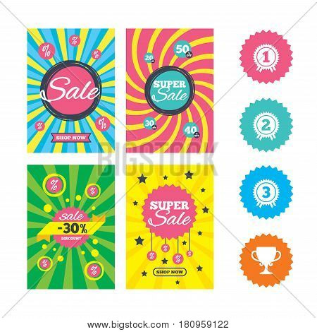 Web banners and sale posters. First, second and third place icons. Award medals sign symbols. Prize cup for winner. Special offer and discount tags. Vector