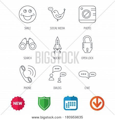 Phone call, chat speech bubble and photo camera icons. Social media, smile and rocket linear signs. New tag, shield and calendar web icons. Download arrow. Vector