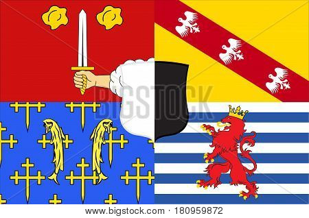Flag of Moselle is the most populous department in Lorraine in the east of France. Vector illustration