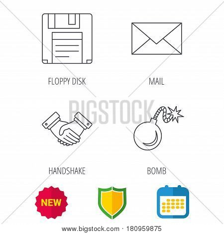 Mail, bomb and handshake icons. Floppy disk linear sign. Shield protection, calendar and new tag web icons. Vector