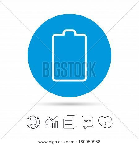 Battery empty sign icon. Low electricity symbol. Copy files, chat speech bubble and chart web icons. Vector