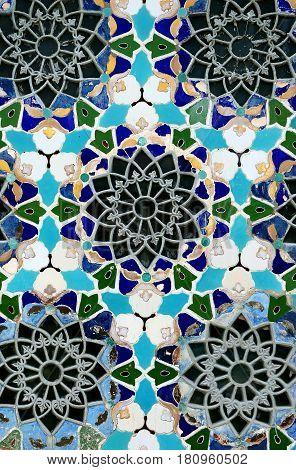 Beautiful blue mosaic color photograph close up