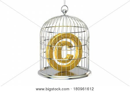 Birdcage with copyright symbol inside 3D rendering
