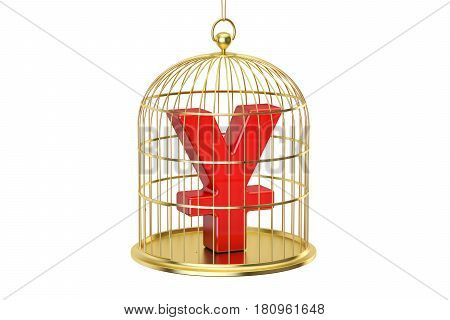 Birdcage with yen or yuan currency symbol inside 3D rendering isolated on white background