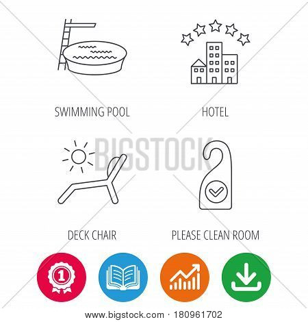 Hotel, swimming pool and beach deck chair icons. Clean room linear sign. Award medal, growth chart and opened book web icons. Download arrow. Vector