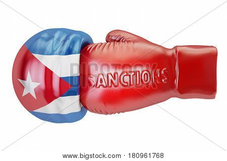 Sanctions against Cuba concept 3D rendering isolated on white background