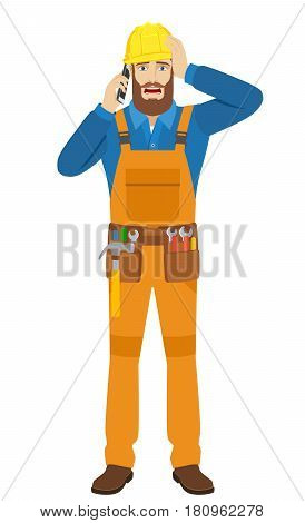 Worker talking on the mobile phone and grabbed his head. Full length portrait of worker character in a flat style. Vector illustration.