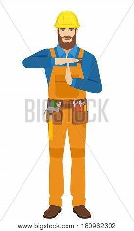 Worker showing time-out sign with hands. Body language. Full length portrait of worker character in a flat style. Vector illustration.