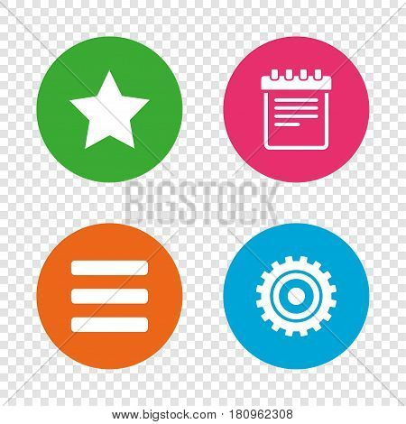 Star favorite and menu list icons. Notepad and cogwheel gear sign symbols. Round buttons on transparent background. Vector