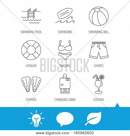 Surfboard, swimming pool and trunks icons. Beach ball, lingerie and shorts linear signs. Lifebuoy, cocktail and changing cabin icons. Light bulb, speech bubble and leaf web icons. Vector