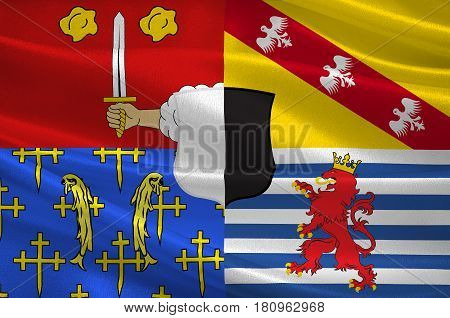Flag of Moselle is the most populous department in Lorraine in the east of France. 3d illustration