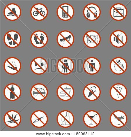 Set of Signs for Different Prohibited Activities. No signs, No smoking, No drinking and other. Vector illustration - you can simply change color and size