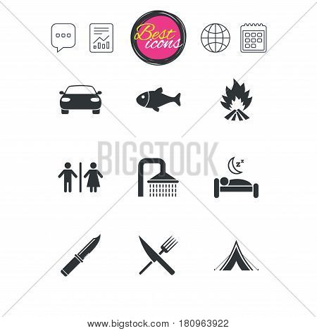 Chat speech bubble, report and calendar signs. Hiking travel icons. Camping, shower and wc toilet signs. Tourist tent, fork and knife symbols. Classic simple flat web icons. Vector