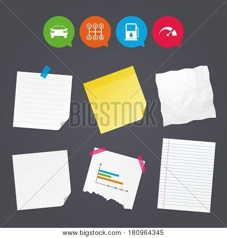 Business paper banners with notes. Transport icons. Car tachometer and manual transmission symbols. Petrol or Gas station sign. Sticky colorful tape. Speech bubbles with icons. Vector