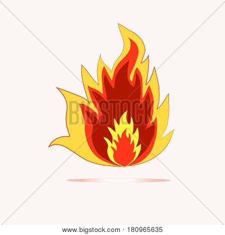 Stock vector illustration fire icon, orange, red, yellow flames on white